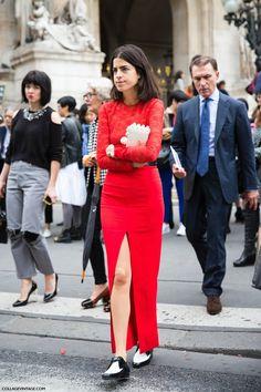 Leandra rocking red. Paris. #LeandraMedine #ManRepeller #tonyahawkes