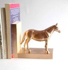 Bronze horse bookends figurines - animal book ends home decor office decor rhino hippo serre-livres serre livres - gilded gold brass