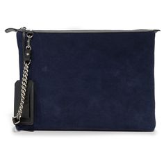 Little Liffner Power Pouch (£350) ❤ liked on Polyvore featuring bags, chain strap shoulder bag, leather zipper pouch, leather zip pouch, blue bag and zipper pouch