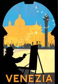 Vintage Venezia, Italy Travel Poster with Artist. Going back in November! Can't wait.