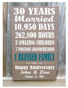 Personalized 30th Anniversary Gift by CastleInnDesigns on Etsy