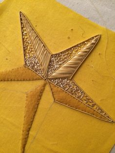 Hand Embroidery Round Up from the London Embroidery School's Christmas Star Goldwork Workshop Zardozi Embroidery, Tambour Embroidery, Hand Work Embroidery, Couture Embroidery, Bead Embroidery Jewelry, Gold Embroidery, Embroidery Fashion, Hand Embroidery Patterns, Embroidery Stitches