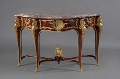 OnlineGalleries.com - A Rare Louis XV Style Gilt-Bronze Mounted Marble Top Console Table