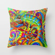 Psychedelizard psychedelic rainbow chameleon throw pillow
