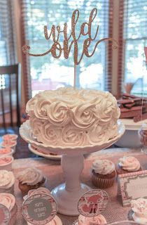 """Wild One"" Tribal Themed 1st Birthday Party. Rosette cake. smash cake. wild one cake. 1st birthday cake. lovealwayslindsay.com"