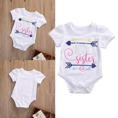 Newborn Baby Girls Clothing Tops Bodysuits Little Sister Print Cotton Bodysuit Jumpsuit Clothes Outfit Baby Girl #Affiliate