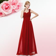 Ever-Pretty Long Bridesmaid Dresses Maxi Evening Formal Prom Party Dresses 09768 Red Evening Gowns, Chiffon Evening Dresses, Chiffon Dress Long, Evening Party, Long Prom Gowns, Ball Gowns Prom, Ball Gown Dresses, Bridesmaid Dresses Uk, Wedding Party Dresses