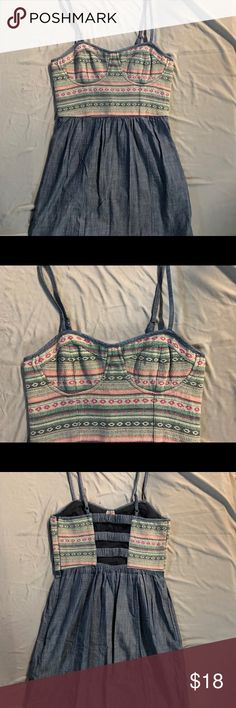 AEO Denim and Crocheted Bustier Dress Absolute adorably sexy tank dress. Has a really cool back as well. Barely worn, perfect condition! American Eagle Outfitters Dresses Midi