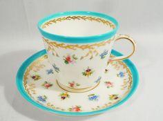 Antique 1858 MINTON Teacup & Saucer A2313 Blue w/ Hand Painted Floral Pansy Rose #MINTON
