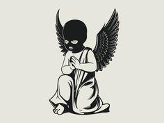 Clothing Praying cupid with ski mask - inspirational illustration - Ski Mask Tattoo, Acab Tattoo, Cupid Tattoo, Cherub Tattoo, Doodle Tattoo, Tattoo Sketches, Tattoo Drawings, Body Art Tattoos, Art Drawings