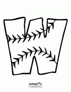 Printable Baseball Alphabet Letters Baseball Alphabet Letter W – Craft Jr. Alphabet Letters To Print, Alphabet Letter Crafts, Alphabet Templates, Initial Crafts, Preschool Alphabet, Letter Tracing, Preschool Art, Baseball Letters, Baseball Crafts