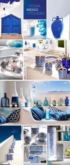 Collection Mixed Indigo - Cet été, misez sur l'association du bleu profond et du blanc immaculé pour une déco aux couleurs des cyclades - Bougies la Française