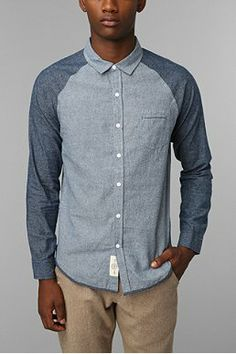 Native Youth Contrast Chambray Button-Down Shirt