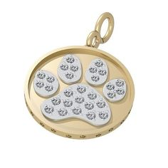 Bark Avenue Jewelers- Pave Paw Print Pendant 14 Karat Yellow Gold Two Tone- Large * Unbelievable cat item right here! : Cat accessories