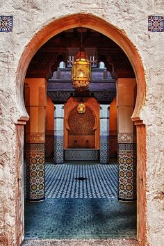 A beautiful Moroccan courtyard. Lovely Terracotta walls. Marrakesh.