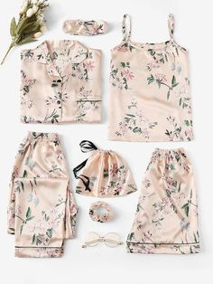 Shop Floral Print Satin Cami PJ Set With Shirt online. SheIn offers Floral Print Satin Cami PJ Set With Shirt & more to fit your fashionable needs. Cute Sleepwear, Lingerie Sleepwear, Loungewear, Nightwear, Sexy Lingerie, Satin Cami, Satin Pajamas, Pyjamas, Cute Pjs