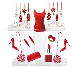 """""""Peppermint Twist"""" by stephanie-mcclaran on Polyvore featuring Alexander McQueen, Clinique, Holiday Lane, MKF Collection, Mark Davis, Alison Lou and Gianvito Rossi"""
