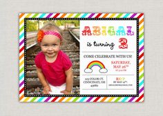 Rainbow Birthday Party Invitation by announcingyou on Etsy, $15.00
