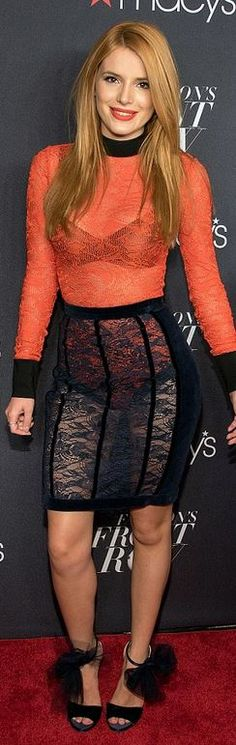 Who made Bella Thorne's orange lace top and black lace skirt?