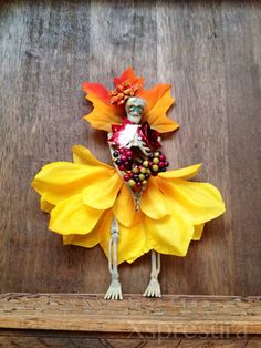 Autumn Skeleton Ornament / Day of the Dead Doll / Christmas Catrina / Dia De Los Muertos on Etsy, $9.00