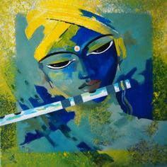 Krishna Painting  Acrylic on canvas by ArtByRohini on Etsy, $349.00