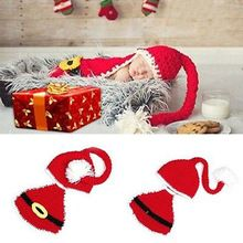 Handmade Outfits Newborn 1set Christmas Santa Claus Hats With Shorts Sets Suits Beanie Knitted Cap(China (Mainland))