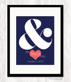 Personalized Wedding Gift Ampersand Print Custom by Vintagraphy
