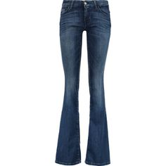7 for all mankind Low-rise bootcut jeans ($120) ❤ liked on Polyvore featuring jeans, mid denim, faded jeans, 5 pocket jeans, faded blue jeans, frayed jeans and low rise boot cut jeans