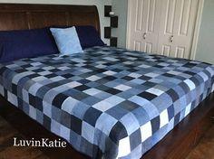Denim Quilt Handmade Denim Queen Size Quilt Cabin Quilt Denim