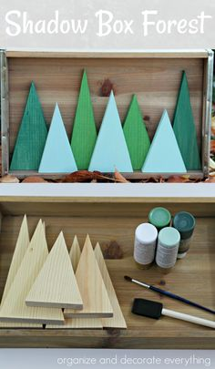I love making decorations for holidays and seasons that can be interchanged, so I came up with this simple Shadow Box Forest for Christmas and Winter. It is the perfect project to ease me into Christmas Wood Crafts, Christmas Projects, Holiday Crafts, Christmas Holidays, Christmas Ornaments, Holiday Decor, Christmas Shadow Boxes, Diys For Christmas, Simple Christmas Decorations