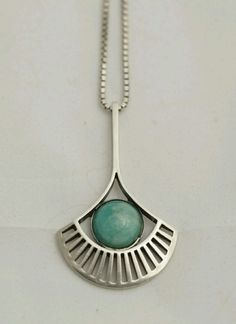 Thune Vintage Norwegian Sterling Silver and Amazonite Modernist Necklace