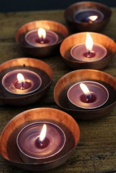 Set of 6 Copper Tea Light Holders