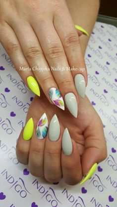 Top 150 ideas for yellow nail art designs reny styles simple diy, easy diy, Fancy Nails, Cute Nails, Pretty Nails, My Nails, Yellow Nails Design, Yellow Nail Art, Colorful Nail Designs, Nail Art Designs, Beach Nail Designs