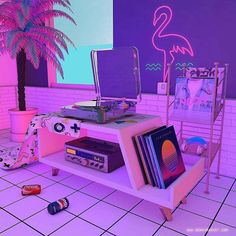 dreamlike artwork inspired by / aesthetic nostalgia fueled by synthwave, retrowave, and vaporwave style Aesthetic Bedroom, Purple Aesthetic, Aesthetic Vintage, New Retro Wave, Retro Waves, Neon Room, Vaporwave Art, Vaporwave Music, Retro Futurism