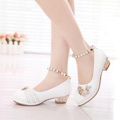 Zapatos de las niñas 2016 primavera princesa partido blanco negro formal  perlas rosa de cuero de 186403c7969