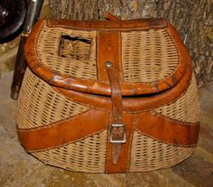 Vintage Wicker & Leather Fishing Creel Basket by downthepipelines, $82.00