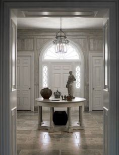♅ Dove Gray Home Decor ♅  classical light grey entry hall