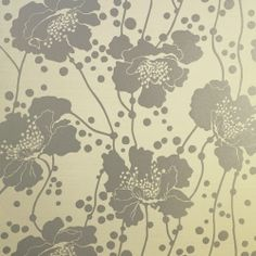 wallpaper metalic | Metallic Silver Spotted Floral Wallpaper