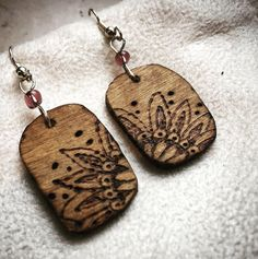 Handmade pyrography earrings