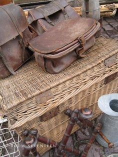 Wicker and old vintage leather goods