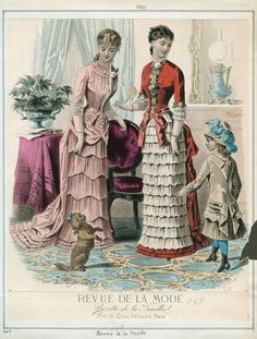 Victorian fashion plate. 1880, Revue de la Mode