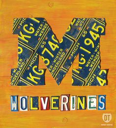 Michigan Wolverines Logo License Plate Art by designturnpike, via Flickr