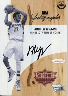 1e3b8e4c3 Andrew Wiggins Minnesota Timberwolves Autographed Game Used Black and White  Supreme Hard Court - Upper Deck