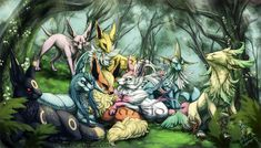 Commission: Eeveelution Forest by ShadeofShinon.deviantart.com on @DeviantArt