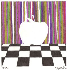 """DAY 6-(1/6/13) """"Lines and Checks"""" Apple. If you're into the 70's kind of groovy feel, this apple might be perfect to add to your Pinterest Art Board. #Spondylitis #ApplesForACure #SpreadtheWord #Repin"""