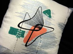 New Retro Barkcloth Pillow Cover  PeaCH by atomiclivinhome on Etsy, $68.00
