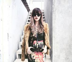Blogger Sonia Eryka looks absolutely fierce in our Killer dress teamed with a fur coat and body harness. You can now pick up the dress for £20 in our the sale. WWW.DROPDEAD.CO