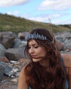Dusty Blue Aura Quartz Mermaid Crystal Crown with Little Stars