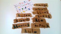 Egipte: Punts de llibre amb gasses i cola blanca amb aigua i cafè! Després, cada nen escriu el seu nom en egipci!