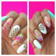 Square studs and saran wrap pastels with uv Gel @ mrsmealynails